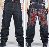 Mens long black jeans hiphop baggy style lâche pantalon pour garçon et homme créateur de mode hip hop jeans rap hip-hop CHOLYL