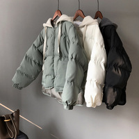 SWYIVY Womens Jacket Coat Short Design 2018 Winter New Hooded Female Cotton Padded Outwear Solid Color Short Jacket Bread Coat