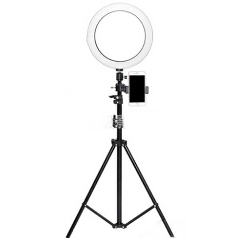 Diameter 26CM dimmable LED studio camera ring light photo mobile video light with tripod self-timer floor lamp