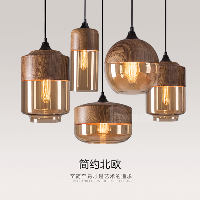 loft retro iron wood glass pendant light for bar dining-room sitting room personality droplight