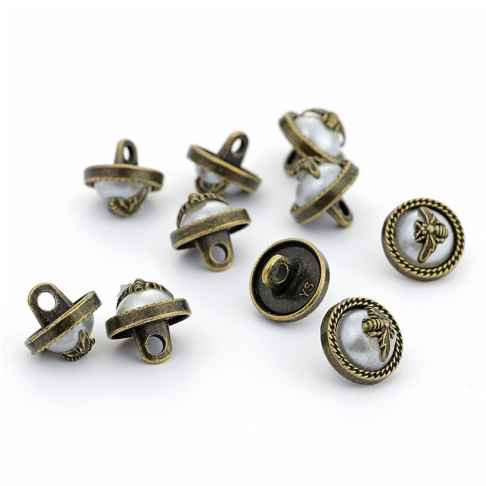 20Pc Vintage High-grade DIY <font><b>10mm</b></font> <font><b>Button</b></font> Bronze Metal Alloy High Feet Pearl Bee <font><b>Buttons</b></font> Shirt Sewing Accessories AAA0179 image