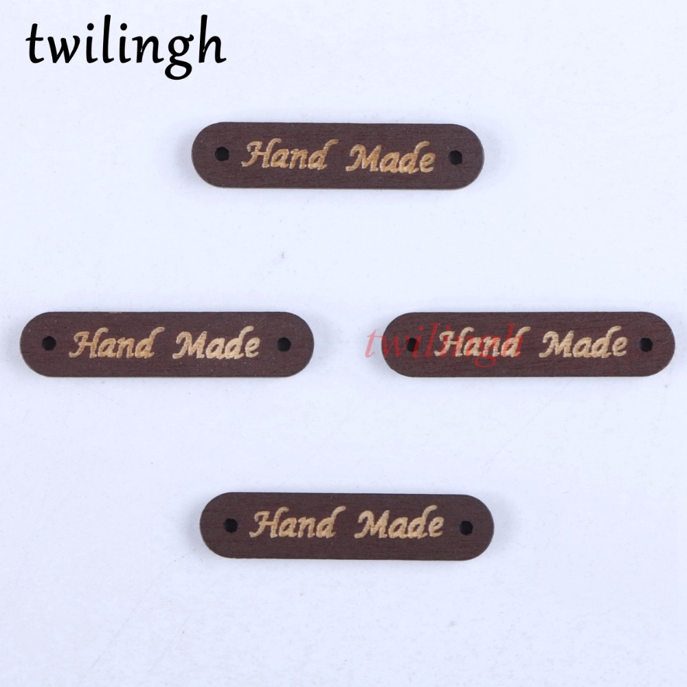 twilingh 50Pcs Sew On Button 2 Holes Wooden Buttons Hand Made Logo Natural Brown Color Handmade Letter