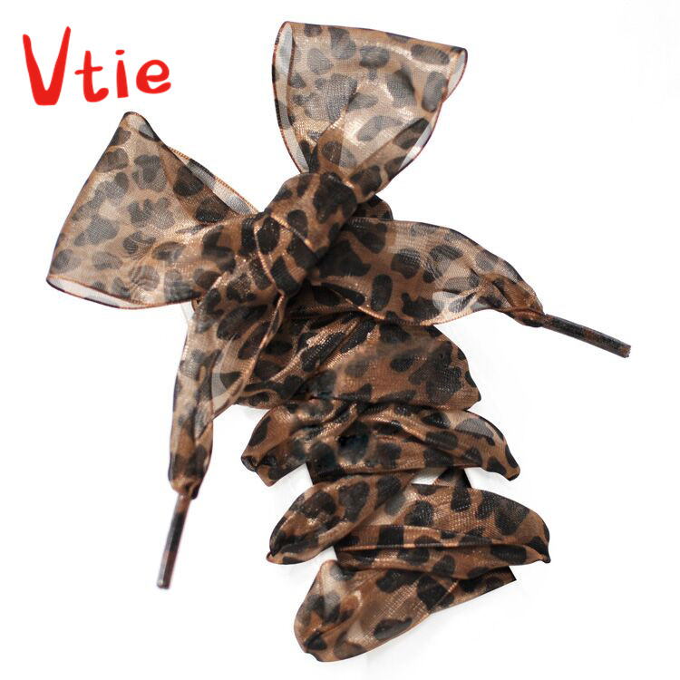 110CM Women Princess Leopard Ribbon Shoe Laces Strings For Chiffon Shoelaces Adult & Child Sizes Hi Top Trainers & Boots