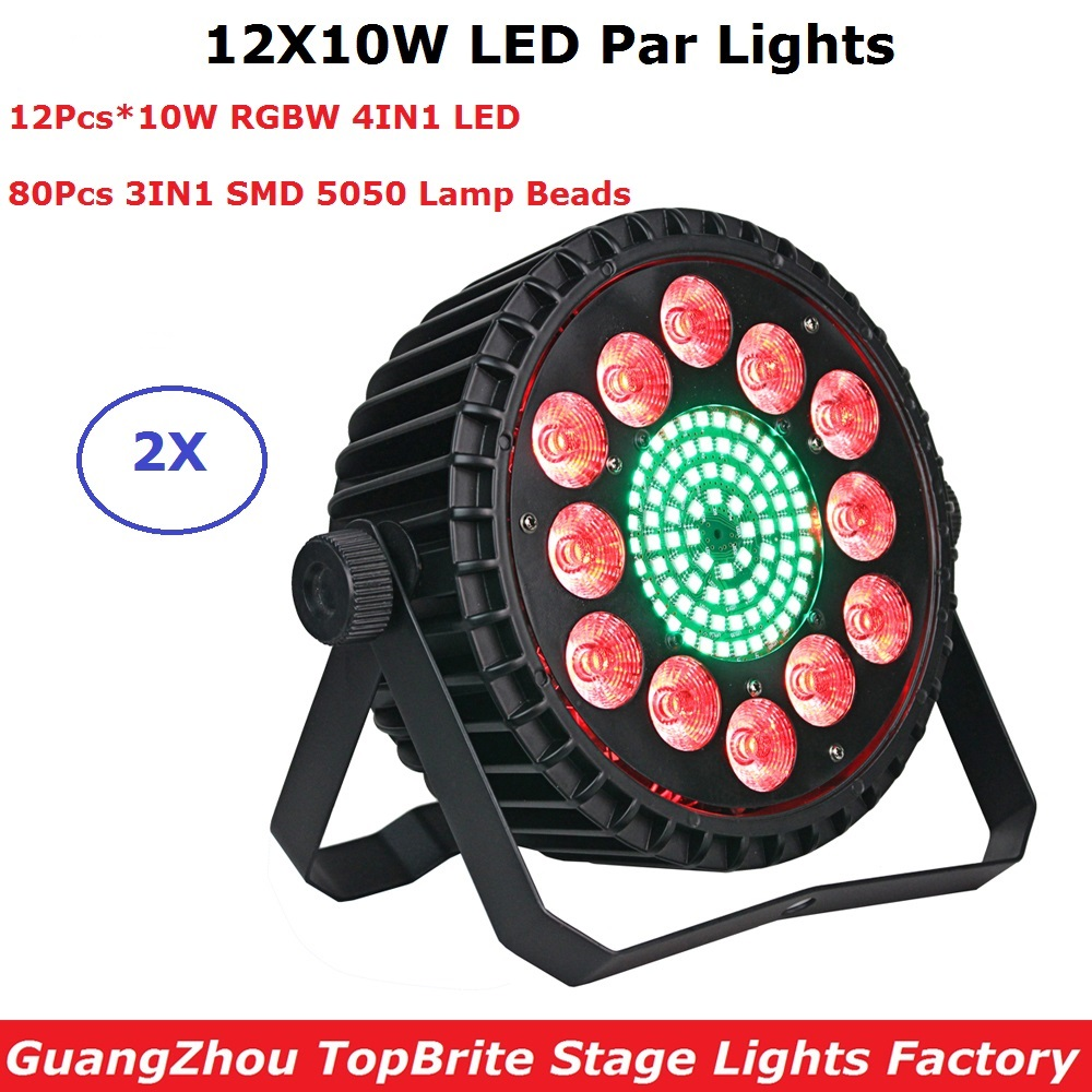 2XLot Aluminum Alloy 12X10W RGBW 4IN1 LED Flat Par Lights LED Dj Wash Effect Show Lights DMX 7 Chs For Party KTV Disco DJ Lamp newest magic ball lights 2pack 12x3w rgbw 4in1 led gobo effect lights for party disco dj christmas lighting shows fast shipping