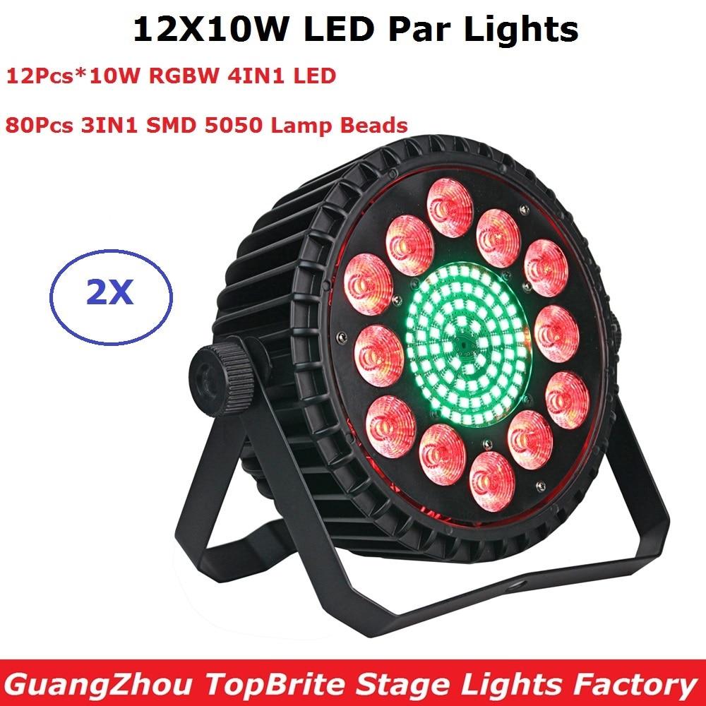 2XLot Aluminum Alloy 12X10W RGBW 4IN1 LED Flat Par Lights LED Dj Wash Effect Show Lights DMX 7 Chs For Party KTV Disco DJ Lamp