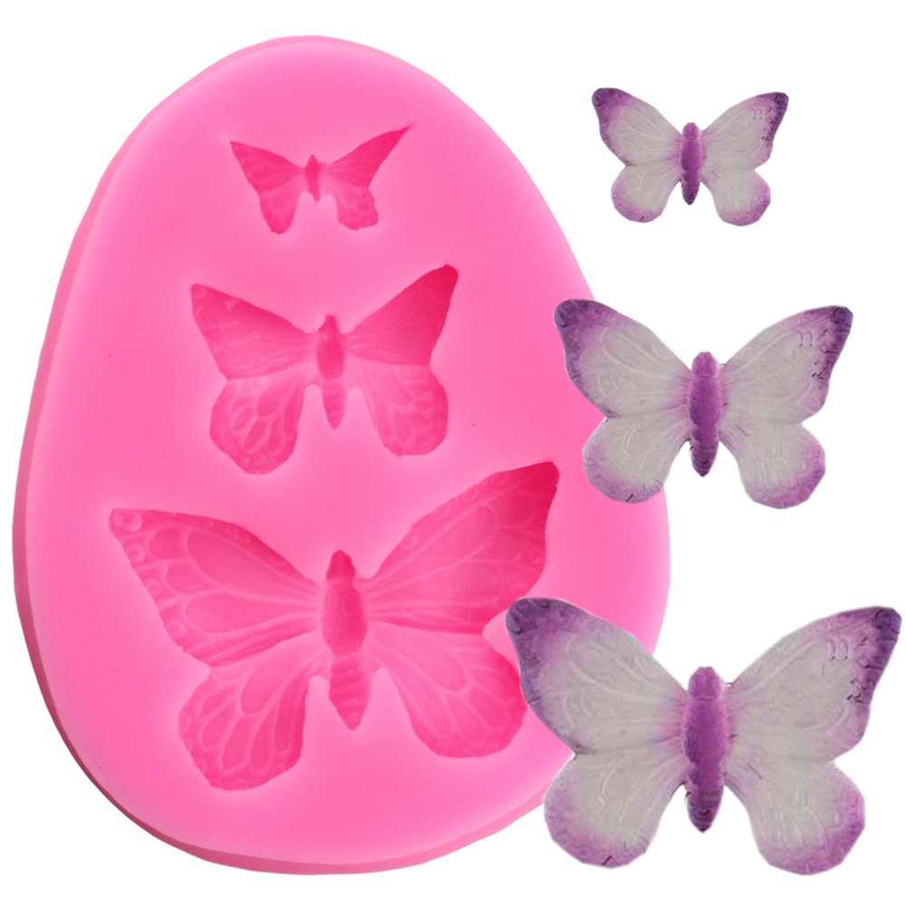 3D Butterfly Silicone Mold Polymer Clay Candy Molds Cupcake Topper DIY Fondant Cake Decorating Tools Chocolate Gumpaste Mould