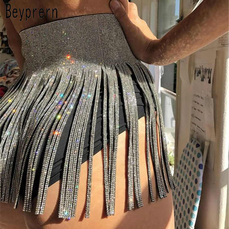 82dcfd03b9e3 Beyprern Sexy Metal Crystal Tassel Mini Skirt Shiny Adjustable Metal  Crystal Skirt Rave Party Outfits