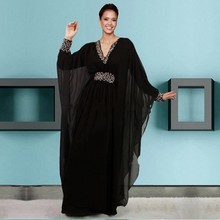 Caftan Islamic Abaya in Dubai Evening Dresses A Line Sexy V neck Chiffon Crystals Party Gowns