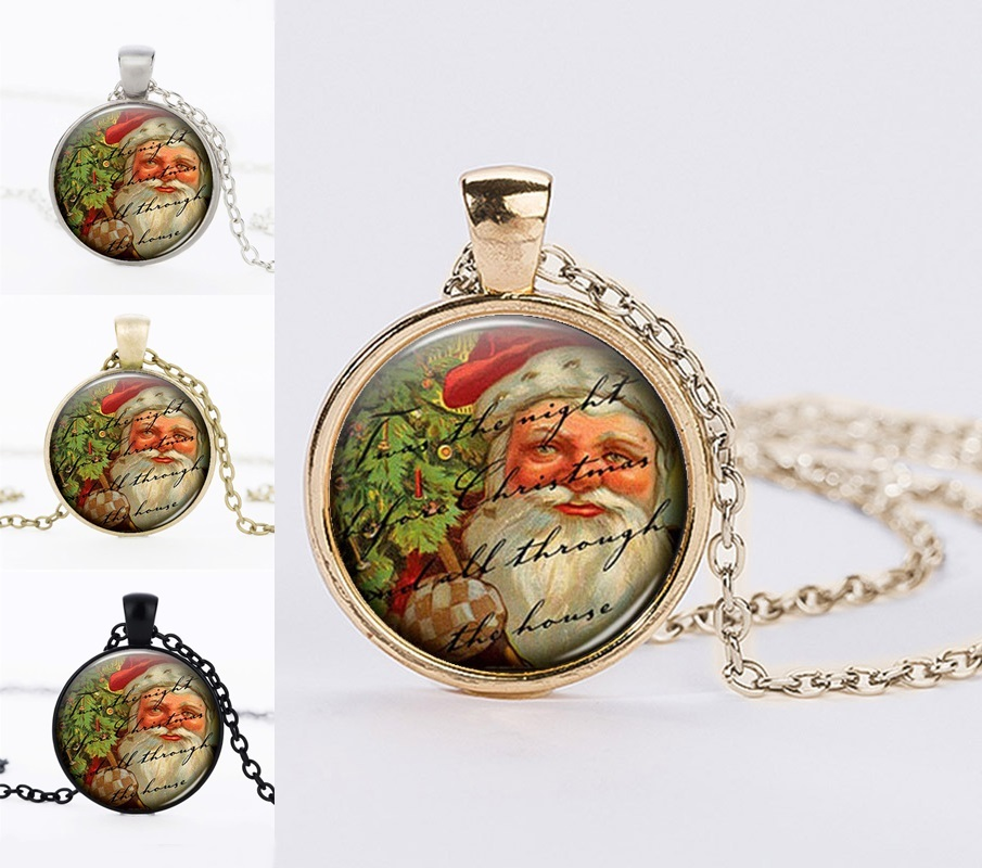Handmade DIY Christmas Gifts Necklaces Jewelry Vintage Black Color Chain Choker Necklace Santa Claus Glass Dome Pendant Necklace