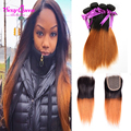 New Spring Straight Virgin Hair With Closure 5Pcs Spring Queen Ombre Brazilian Hair With Closure Cheap Ombre Hair With Closure
