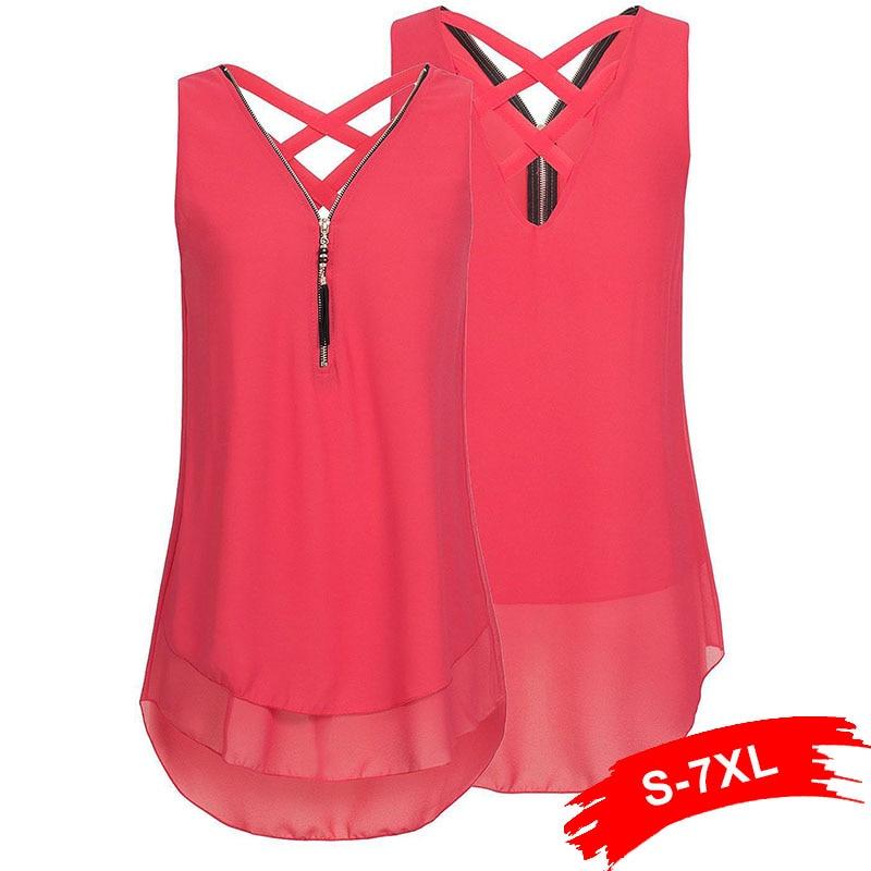 Women Plus Size 5Xl 7Xl Chiffon Casual   Blouse     Shirt   Female Summer Black White Sleeveless Elegant Loose Tank Tops Tee