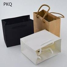 50 sztuk 3 rozmiary biały prezent torba z uchwytem czarny/brązowa torba papierowa do pakowania małych różowy biżuteria torba Party obecna torba
