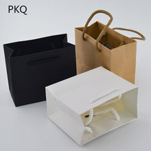 50pcs 3 sizes White Gift Bag with handle Black/Brown Kraft paper bag for packaging Small Pink Jewelry Bag Party Present Bag