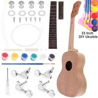 23 Inch Mahogany Ukulele DIY Kit Concert Hawaii Guitar with Rosewood Fingerboard and All Closed Machine Head for Music Lover