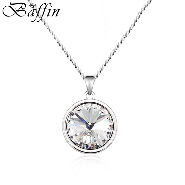 Baffin simple round pendant necklace crystal from swarovski bella baffin simple round pendant necklace crystal from swarovski bella jewelry for women silver color collier fashion aloadofball Images