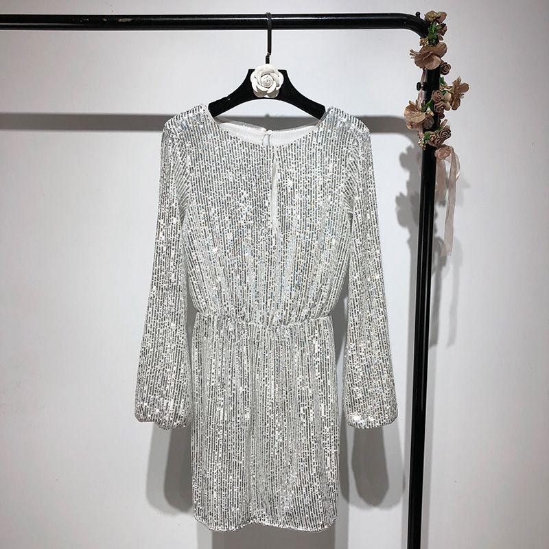 86e32020e9 Avant Élégant Évider Automne Printemps De Soirée Paillettes Robe Mode  Femmes Robes Argent 2019 Streetwear Mini eE29IYWDH