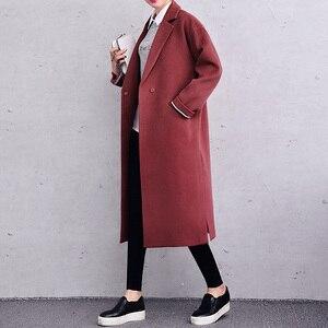 X-Long Women Winter Coats Loose Fashion Wool Jacke Women Lining Paattern Brown Black Jacckets Wool & Blends 2017 New J16DW0475