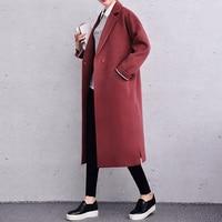 X Long Women Winter Coats Loose Fashion Wool Jacke Women Lining Paattern Brown Black Jacckets Wool & Blends 2017 New J16DW0475