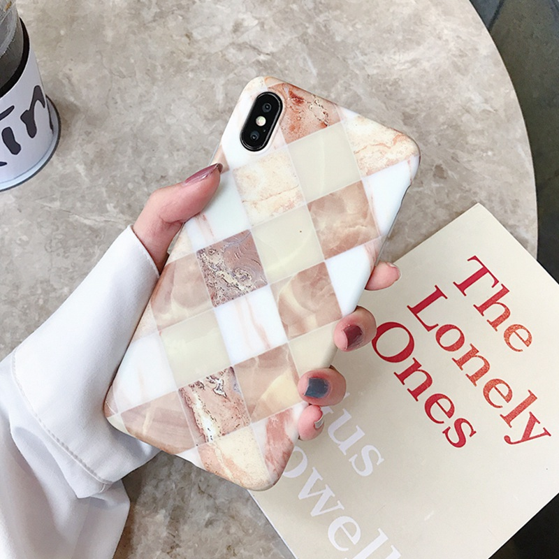 Square mosaic marble pattern phone case for iphone XS Max XR 6 6s 8 7plus XS