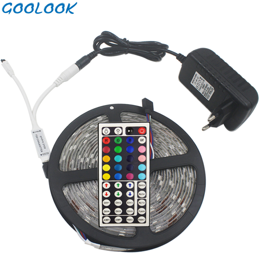 Goolook RGB LED Strip Light Waterproof RGB Strip SMD 5050 Flexible Diode LED Tape + IR Remote Controller + DC12V Power Adapter