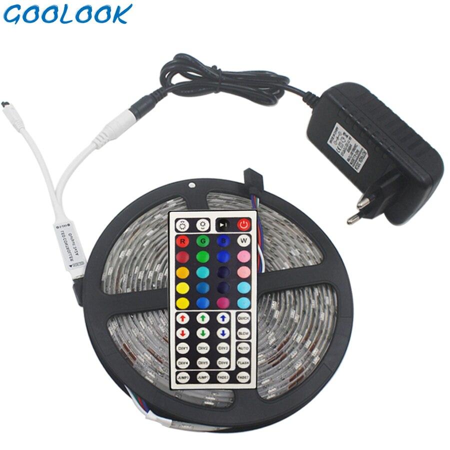 Goolook RGB LED de luz de tira impermeable de tira de RGB SMD 5050 diodo LED cinta + IR Control Remoto + DC12V adaptador de corriente
