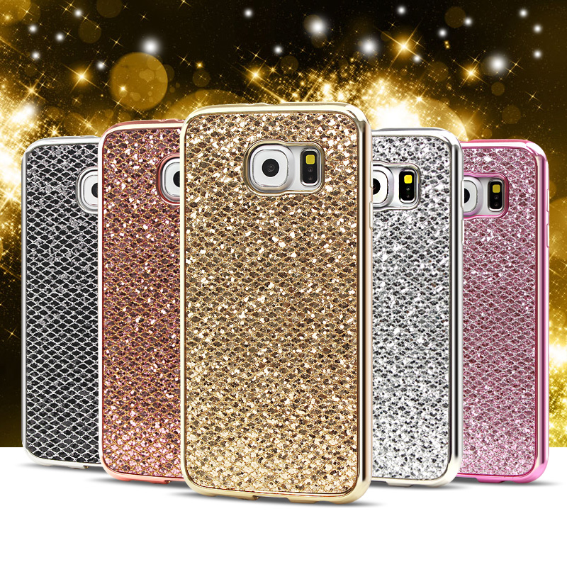 Galleria fotografica Clespruce Glitter Sequins Case For Samsung Galaxy S6 S7 edge Plus S8edge Sparkle Girl Woman plating Soft Back Phone Cover Capa