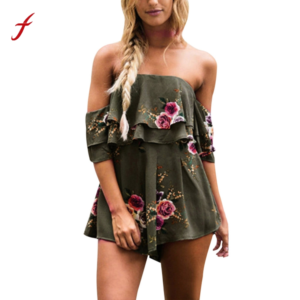 feitong Women Sexy Off Shoulder Floral Print Jumpsuit Romper Women 2020 Fashion Causal Summer Loose Beach Playsuit Bodysuit New