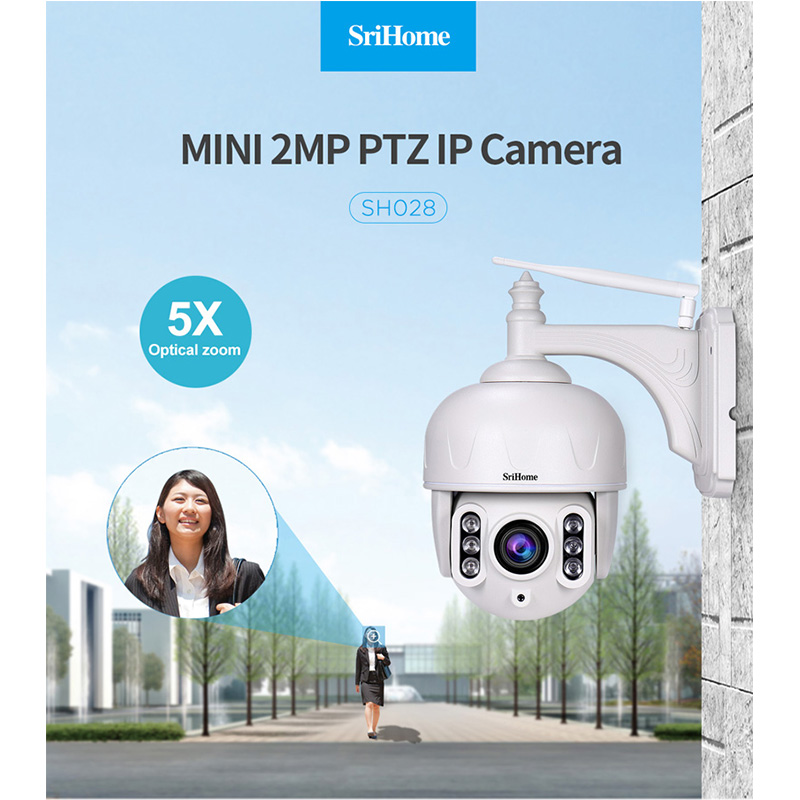 Sricam SH028 2.0MP Ao Ar Livre À Prova D' Água HD 1080 P Câmera Dome Zoom P2P 5X Vigilância IP Sem Fio CCTV Câmera de 360 Graus wi-fi PTZ