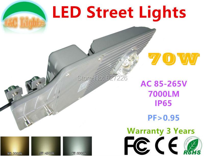 ФОТО AC85-265V 70W LED Street light 110V 220V 130W/LM IP65 Waterproof Apply Outdoor lighting highway main road motorway Park Plaza
