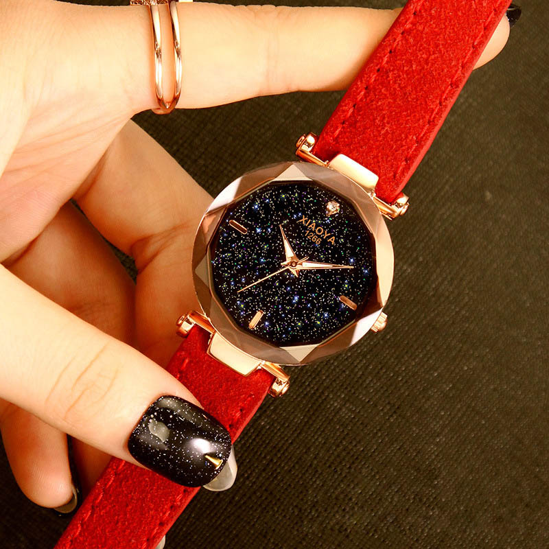 Dropshipping Star Sky Women Watch PU Leather Band Rose Gold Ladies Wrist Watches Luminous Hands zegarek damski relogios feminino in Women 39 s Watches from Watches