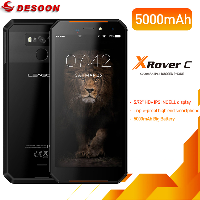 "LEAGOO XRover C IP68 NFC Smartphone 5.72"" IPS Quad Core 2GB 16GB 13MP Dual Cams 5000mAh Face Fingerprint ID Support Glonass"