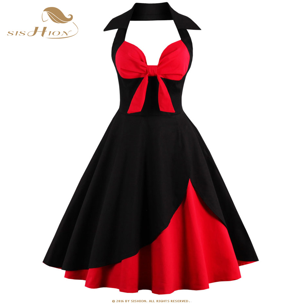 SISHION Women Summer Dress 2018 New Halter Plus Size Clothing Retro Swing Casual 50s Vintage Dresses Black Red Vestidos VD0443