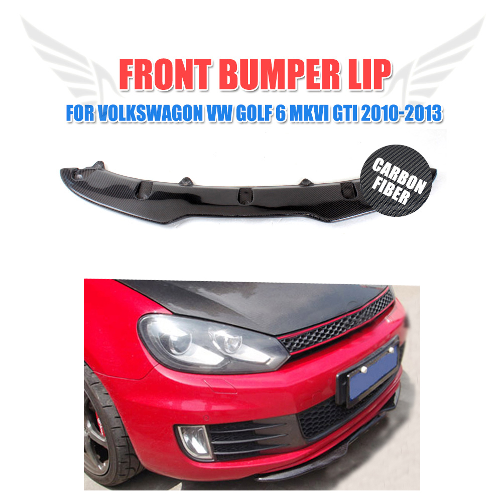 Carbon Fiber Front Bumper Lip Spoiler for Volkswagon VW Golf 6 Golf VI MK6 Base Hatchback GTI Bumper 2010-2013 4pcs set wrc bumper strip carbon fiber