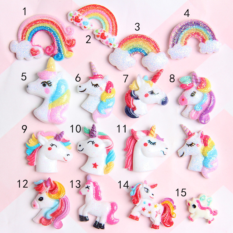 10Pc/lot Glitter Unicorn Rainbow Flat Back Resin Cabochon For Hair Bows Accessories Resin Cabochons Animals Mix DIY Scrapbooking