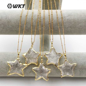 Image 3 - WT N1119 Wholesale Fashion Diy Knotted Crystal Quartz Necklace pendant Natural Stone Star with gold trim necklace jewelry