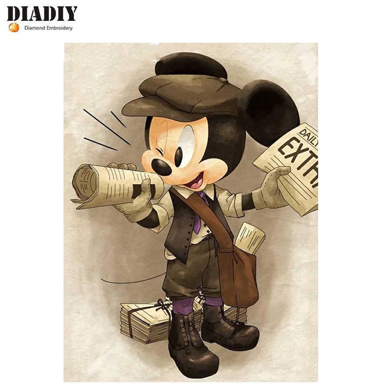 """DIADIY 100% Полный 5D DIY Алмазная картина """"мультяшная мышь"""" 3D вышивка крестиком полностью круглое сверло украшения для дом из горного хрусталя детей"""