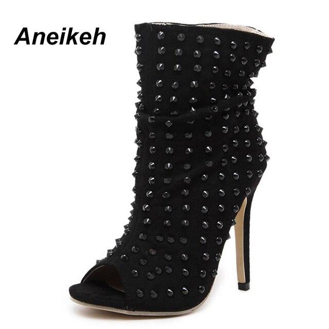 Aneikeh Punk Rock Hedgehog Gladiator Shoes Rivets Ankle Boots Womens Peep Open Toe High Top Sandals High Heel Pumps Clubwear
