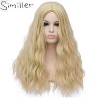 Similler 24inch Fluffy Blonde Long Synthetic Wigs For Black Women Kinky Straight Heat Resistant Hair 26