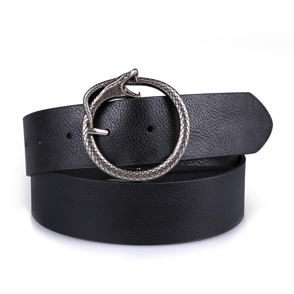 Snake Shaped Metal Buckle Vintage Round Buckle   Belts   Female Leisure Jeans Wild   Belt   Pin Buckle Leather Black Strap   Belts   Women