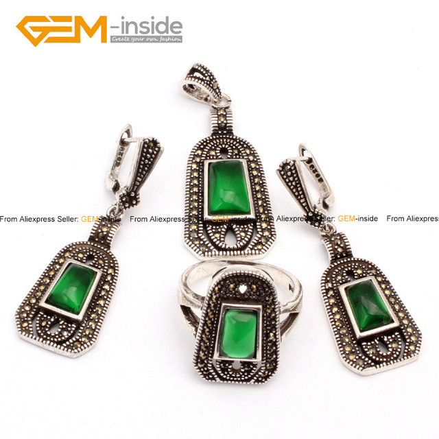 Fashion Beads Jewelry Set Color Selectable Shield Antiqued Tibeten Silver Ring Earrings Pendant Jewelry Sets Free Shipping