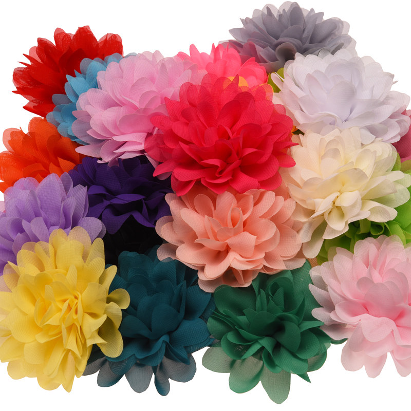 50pcs  10cm Solid Chiffon Discoid Flowers Fancy Hair Accessories Boutique Hair Flowers For Headband No Hairclip
