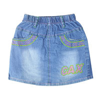 Girl S Embroidery Letter Pattern Mini Jeans Skirts Above Knee With Pockets Elastic Waistband For Toddler