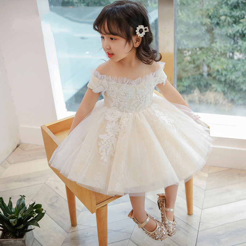 Beading Flower Girl Dresses for Wedding Off the Shoulder Cute Princess Dress for Baby Girls Appliques Evening Party Gowns B443Beading Flower Girl Dresses for Wedding Off the Shoulder Cute Princess Dress for Baby Girls Appliques Evening Party Gowns B443