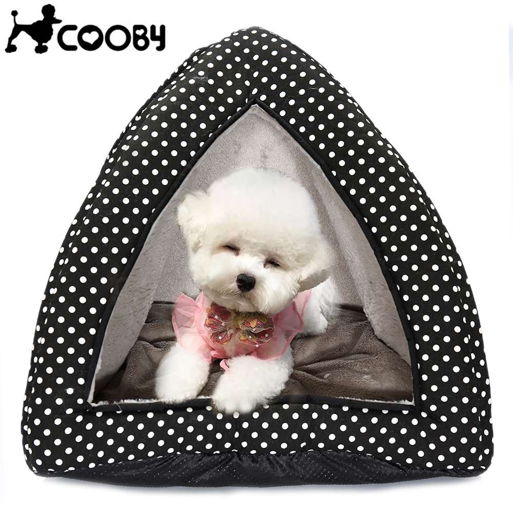 COOBY Foldable Dotted Dogs Cats Beds Warm Puppy Pussy Tent Dog Cat Kennel Sofa House