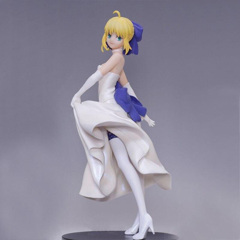 Anime Fate//stay Night White Dress Tohsaka Rin Sitting Style PVC Figure New
