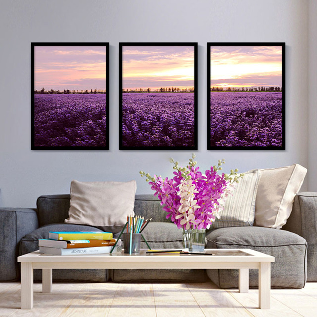 FULL HOUSE Beautiful Sunset Scenery Art Print Poster Combination Canvas  Paintings Violet Wall Pictures Home Decor No Frame