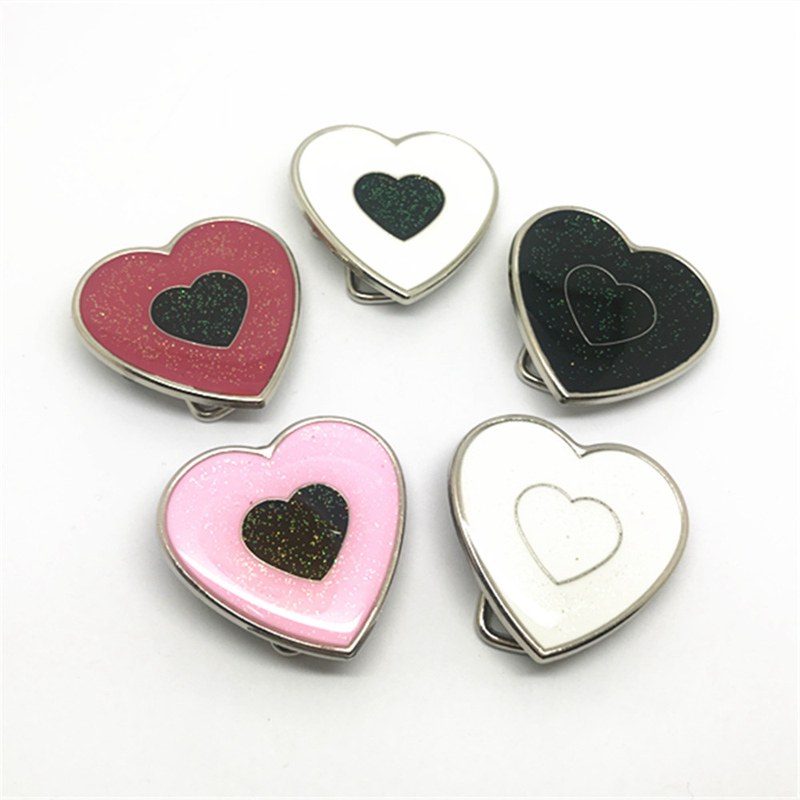 Custom Factory 200 Pcs Wholesale Women's Color Heart-shaped Metal Belt Buckle For 3 Cm Belt