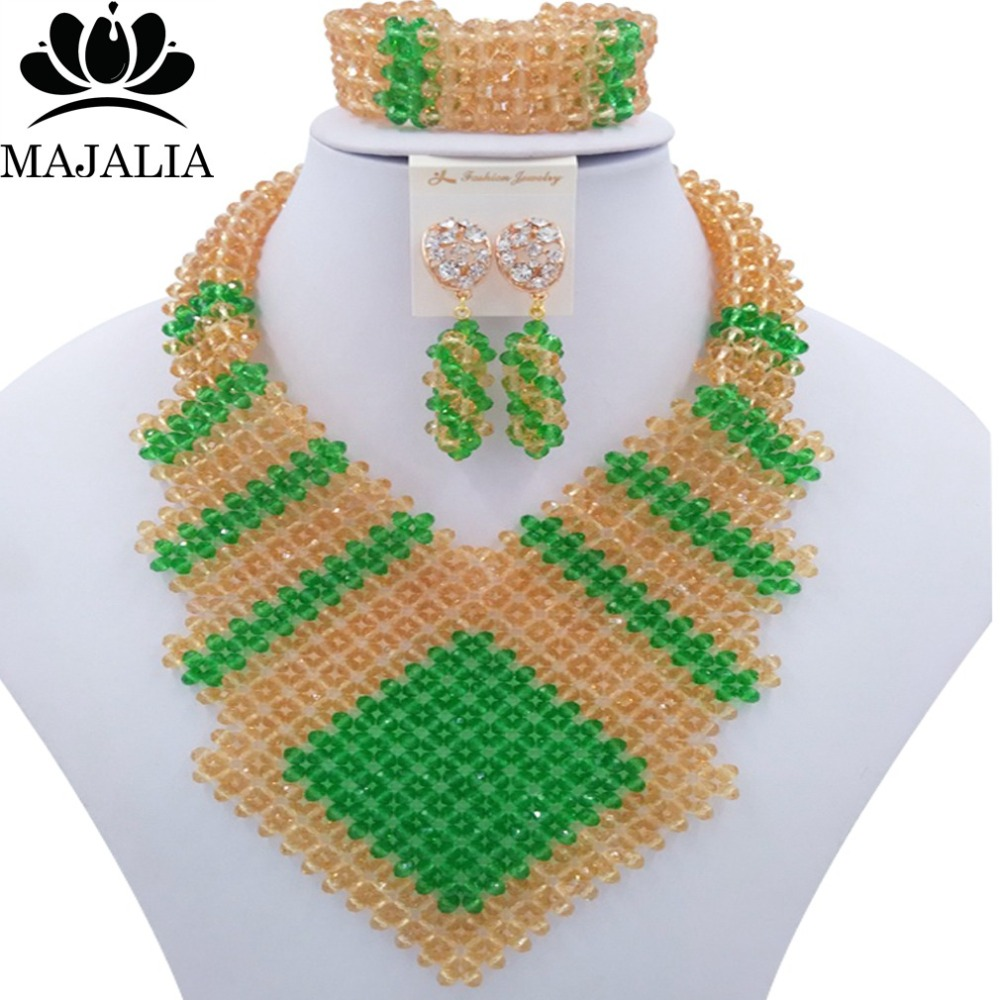 купить Fashion african jewelry set green nigerian wedding african beads jewelry set Crystal Free shipping Majalia-357 по цене 4700.67 рублей