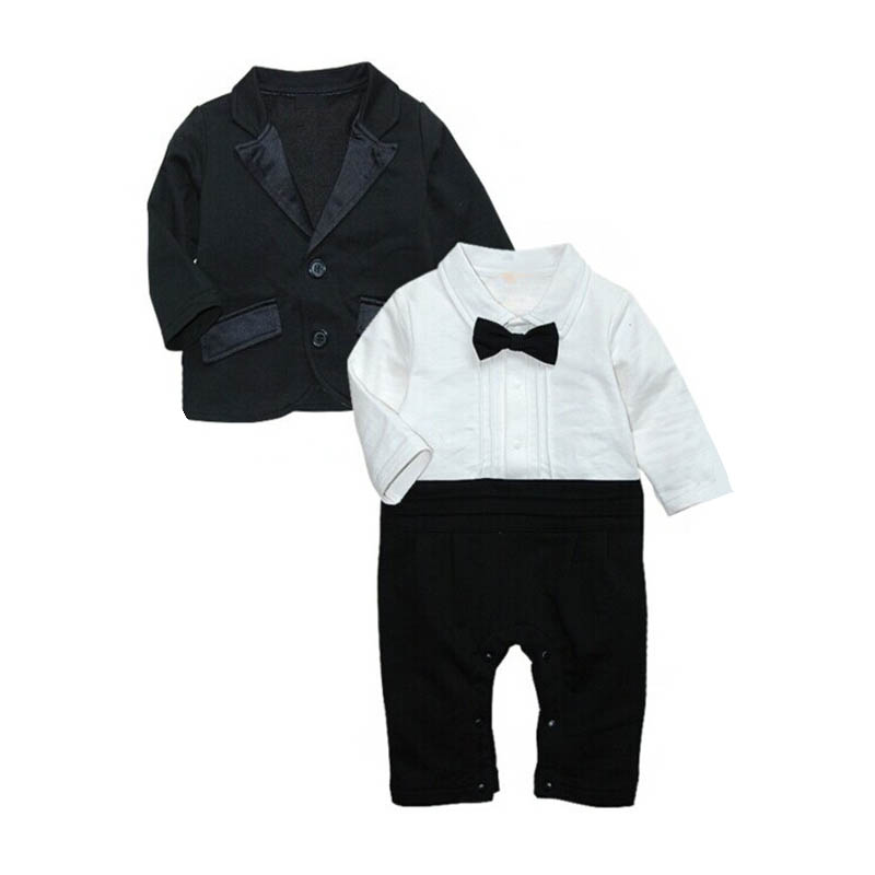 Autumn Gentleman Baby Suits Bow Tie   Romper  +Black Coat 2pcs Suit Birthday/Wedding Party Baby Outfits Sets Infant Boy Clothes