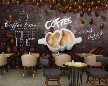 beibehang Personality simple atmospheric three-dimensional wallpaper hand-painted coffee decorative painting background behang